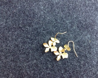 Gold Orchid Earrings
