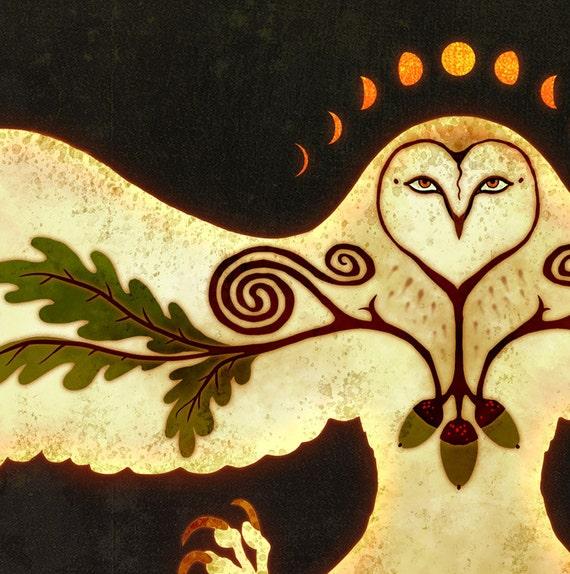 Owl Talisman of Protection - Barn Owl Oak Acorn Celtic Spiral Moon Phase Underneath Otherworld