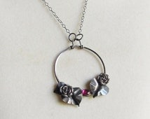 Ruby Floral Necklace - Fold Formed Jewelry - Precious Metal Clay