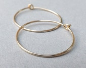 14k Gold Hoop Earrings Solid Gold Hoops, Simple Gold Earrings, Minimalist Gold Jewelry Gift for her, Womens Gift, Choose your size