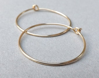 14k Gold Hoop Earrings Solid Gold Hoops, Simple Gold Earrings, Minimal Gold Jewelry Gift for her, Womens Gift, Choose your size