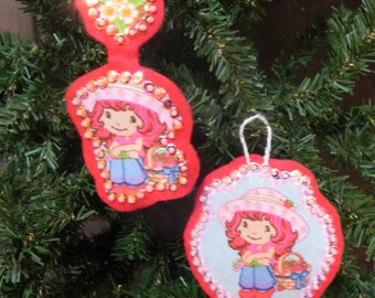 Ornament made with Upcycled Strawberry Shortcake Bed Sheet (not a licensed product)