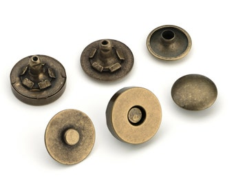 10pcs Double Rivet Magnetic Purse Snaps 14mm - Antique Brass - Free Shipping (MAGNET SNAP MAG-210)