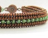 peridot beadwork bracelet copper beaded bracelet crystal bangle swarovski crystal bracelet birthstone bracelet