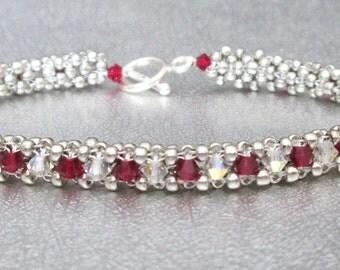 Crystal beadwork bracelets red beaded bracelet silver bead bracelets sterling silver swarovski