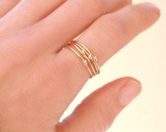 one GOLD stacking ring. tiny ball droplet. midi ring. knuckle ring. delicate, dainty, 14k gold filled stacking rings.