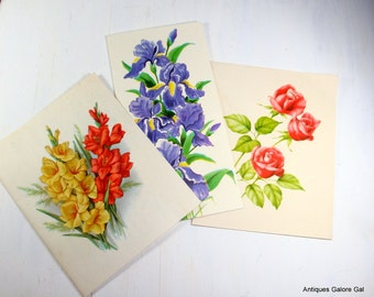 Set of Three Beautiful Floral Cards, Flowers, Iris, Rose, Gladioli, Vintage Paper Ephemera for Crafting, Paper Projects