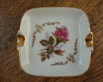 Retro ashtray ceramic ashtray white ashtray pink rose ashtray small ashtray gold rim ashtray ceramic pottery ashtray garden rosebud flower
