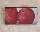 Plums Fruit Painting - Original Textured 3D Wall Art in Purple - Kitchen Still Life Picture
