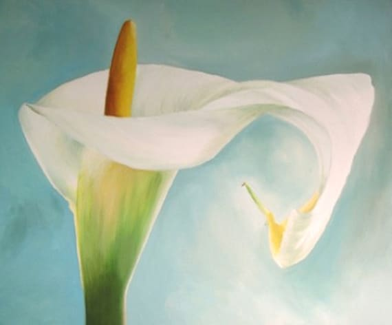 Cala Lily Painting - original acrylic flower painting on turquoise background
