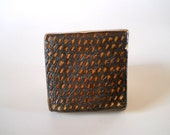Handmade decorative tile, wood fired tile with slip pattern, small rustic tile dark brown, gold