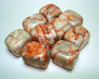Redline Marble Medium Cube Stone Beads (Qty 9) - B2498
