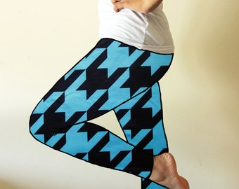 Made to order leggings  - Blue and Black hounds tooth leggings - available in sizes XS, S, M, L, XL and custom sizes - kezbirdie
