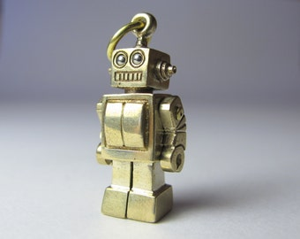 Robot necklace MEGABOT bronze long antique ball chain