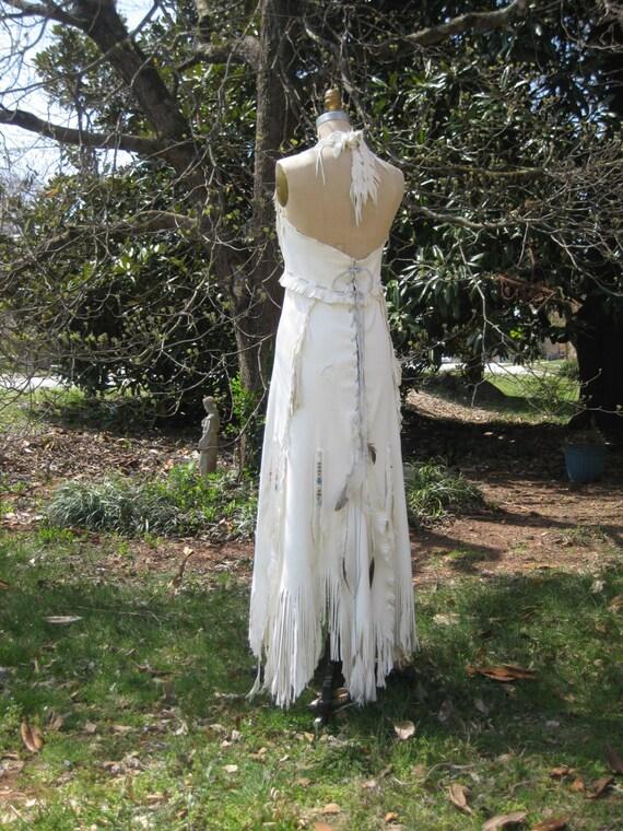 Reserved For Mandala Rain White Leather Wedding Dress Native