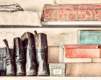 Old Boots and Boxes in a 19th Century general Store, Art Print, Old Things, Old world things, Vintage, Antique