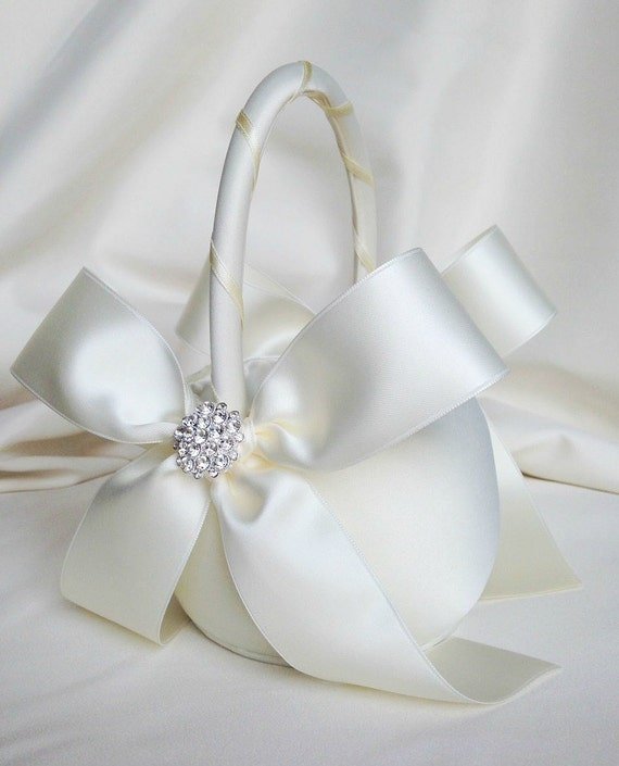 Flower Girl Baskets Ivory Uk : Ivory flower girl basket with rhinestone by weddingsandsuch