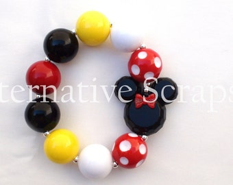Disney Classic Minnie Mouse Red and White Polka Dot Inspired Chunky Bracelet, M2M Girls Chunky Necklace