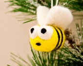 Tiny bumble bee ornament decoration, Handmade felted ornament, Needle felted bee