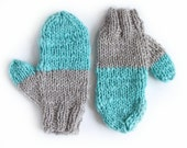 hand knit mittens ARTIC wool in warm grey and acqua blue green