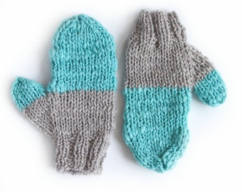 ON SALE hand knit mittens ARTIC wool in warm grey and acqua blue green