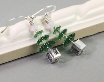 Silver Christmas Earrings Green Tree Earrings Green Christmas Jewelry Crystal Tree Earring White Opal  Xmas Tree Opal Silver Holiday Jewelry