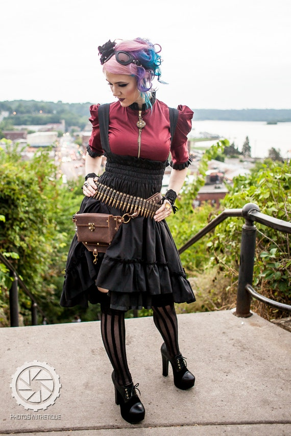 Plus Size Steampunk Bustle Dress - Womens Halloween Costume - Airship Mechanic Jumper -Custom to your size 3XL-5XL