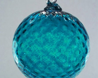 Aquamarine Diamond Facet Blown Glass Ornament 3.5 inches FREE SHIPPING