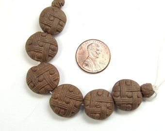Handmade Ceramic TicTacToe Pattern Round Beads, Chocolate Stoneware Clay Finished with Cantaloupe Sigillata, Jewelry Components