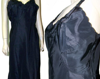 Vintage Full Slip Taffeta Swoosh Side Metal Zipper black size 36 med