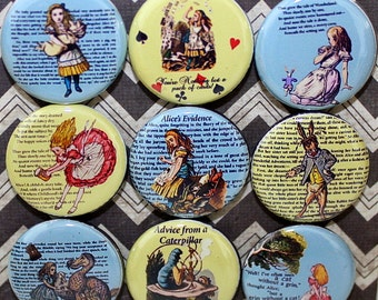 Alice in Wonderland Magnets - One Inch