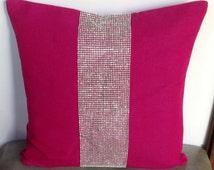 Perfect gift for her 2016, Throw Pillows-Fuschia Pillows with stone detailing-Stone pillow 18x18 square pillows