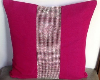 Perfect gift for her 2016, Throw Pillows-Fuschia Pillows with stone detailing-Stone pillow 18x18 square pillows