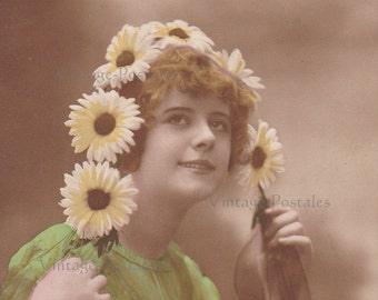Antique French postcard, Edwardian lady with flowers real photo postcard (RPPC), paper ephemera.