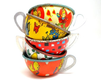 50s Tin Toy Tea cups, Red, blue & yellow graphics, Instant Collection.