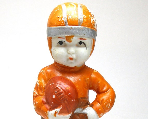 20's Boy & Ball figurine, Japanese bisque doll. Football player.
