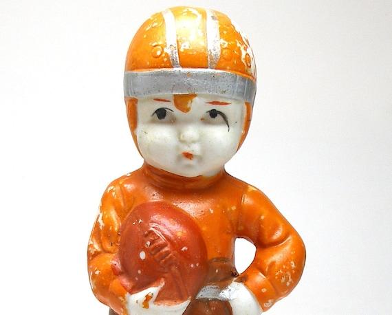 20's Boy & Ball figurine, Japanese bisque doll. Football player.