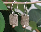 Petite Mixed Metal Gold and Silver Textured Dangle Earrings, Rectangular Mixed Metal Artisan Tag Earrings