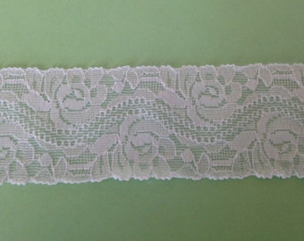 WHITE Stretch Lace-1 3/4 inch -10 yards