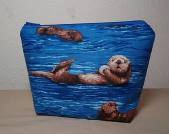Sea Otters Zipper Cosmetic Pouch