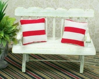 Red Striped Pillows White Nautical 1:12 Dollhouse Miniatures Scale Artisan