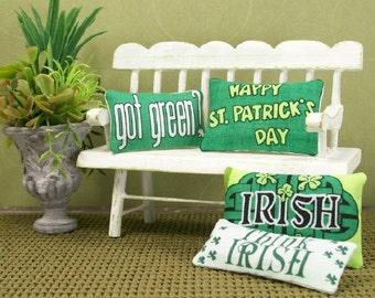 St Patricks Irish Pillows Green 1:12 Dollhouse Miniatures Blythe Barbie