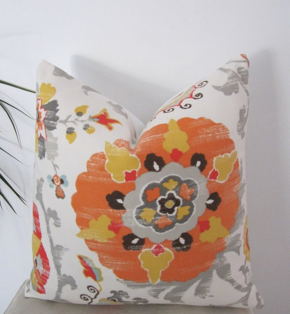 "Sunroom Pillow Cover - Indoor/Outdoor Suzani Gold and Tangerine - Patio Pillow Case 18"" x18"""