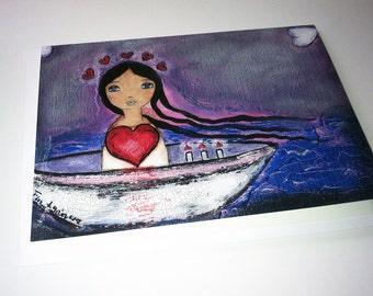 Sailing with You - Greeting Card 5 x 7 inches - Folk Art By FLOR LARIOS