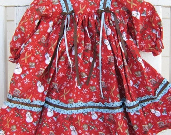 FLANNEL GOWN - -Old-Fashioned  Gown in Red with Snowmen...Size 12 Month