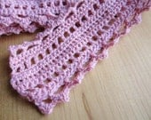 pink scarf - light pink, bohemian lace, crochet - women, teens, all natural fibers, spring fashion, in stock, ready to ship