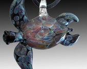 Our Larger Black with Amber Purple Hand Blown Glass Sea Turtle Pendant, Necklace, Focal Bead, Your Choice of Colors