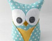 Owl Bookend - Paperweight doorstop - blue polkadot