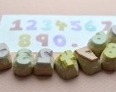 half inch number hand carved rubber stamps, handmade rubber stamp set