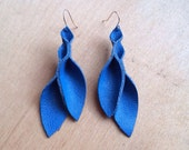 Petal Collection- Electric Blue Leather Earrings
